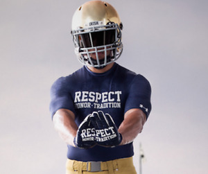 Notre Dame Football * Team Issued * ND RESPECT * Under Armour Gloves - XL - NEW