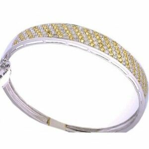 4.20 carat DIAMOND & Yellow SAPPHIRE Bangle Bracelet 14k White Gold 20.5 Grams