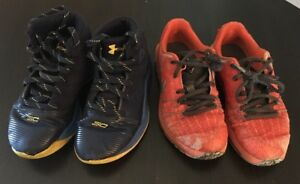 Under Armour Kids Boy's UA CURRY Steph Blue Sneaker Size 12 & Nike Kd  Orange