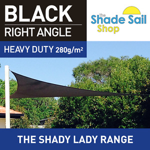 Shade Sail Right Angle Triangle 4x5x6.4m Black 280gsm Super strong 4 x 5 x 6.4 m AU $139.00