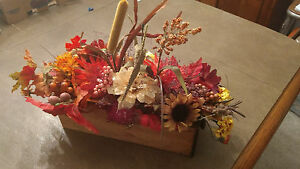 Fall Floral Arrangement Centerpiece In an Antique Sewing drawer holiday $22.00