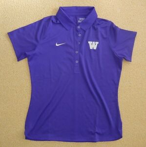 Nike WASHINGTON HUSKIES UW Football POLO SHIRT College Golf Size Women's LARGE