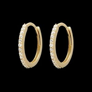 0.12 TCW Created Diamond Huggie Hoop Earrings Solid 14K Yellow Gold Round VVS1
