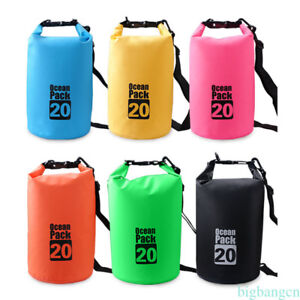 2L-20L PVC Waterproof Dry Bag Sack for Canoe Floating Kayaking Camping 1PC BG1O