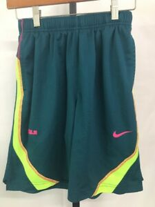NIKE BOY'S LEBRON JAMES DRI-FIT BASKETBALL ACTIVE SHORTS GREEN PINK MEDIUM NEW!