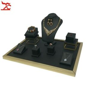Luxury Jewelry Display Counter Showcase Black Pu Leather Necklace Ring Stand Kit