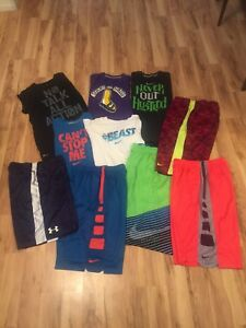 NIKE UNDER ARMOUR LOT OF 10 Boys Shirts Shorts Youth Size XL