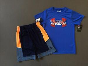 Under Armour kid Boys 2 Piece shirt and shorts Outfit Kids Size 6 NEW