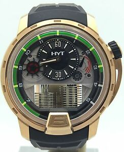 HYT H1 18K Rose Gold Serial No. 1 Power Reserve 148-PG-22-GF-CR on Rubber