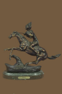 Sculpture Warrior BY FREDERIC REMINGTON Bronze Marble Base Statue Figurine DEAL