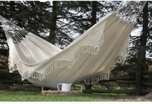 Beige Hammock Cotton Double Stylish Portable Swing Hanging Camping Outdoor New