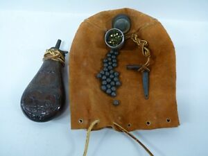Vintage Gun Powder Flask Made in Italy Dog and Birds Musket Ball Tool