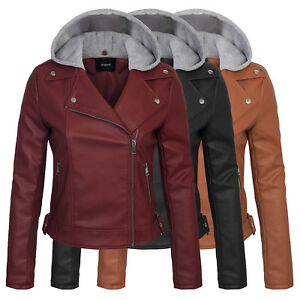 KOGMO Women's Faux Leather Double Breast MOTO Jacket with Removeable Hoodie