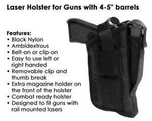 Tactical Laser Holster Fits Full Size pistols w laser sight or light attached $19.99