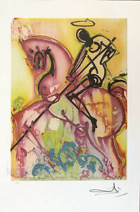 Salvador DALI St George amp; The Dragon Plate Signed Lithograph $54.95