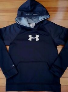 NEW Under Armour Boys Storm Armour Fleece Hoodie Water-resistant Black Steel L