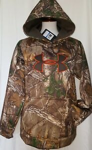 $60 Under Armour Boys Realtree Cold Gear Camo Fleece Hooded Sweatshirt YXL 16-18