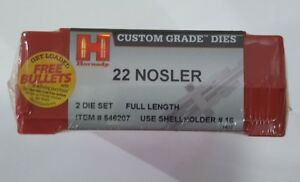 Hornady Custom Grade Rifle dies for 22 Nosler 2 die set mfg  # 546207 NIB