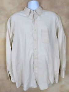 Brooks Brothers Mens Ivory Linen Button Front Long Sleeve Sport Shirt Size L