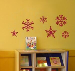 Snowflakes Winter Vinyl Stickers Wall Art Decals Seasonal Home Decor Set of 6