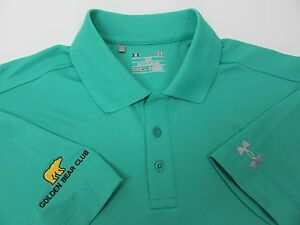 Mens Under Armour Heat Gear Golden Bear Club Teal Green Golf Polo Shirt L Loose