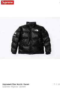 Supreme X The North Face® Leather Nuptse Jacket Size Small Black FW17