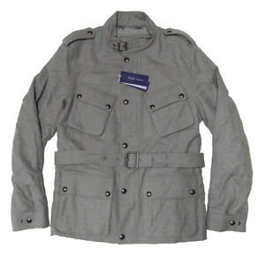 $3695 Ralph Lauren Purple Label Italy Grey Button Zip Wool Leather Jacket Coat