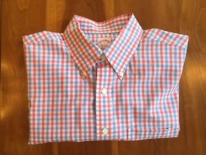 Brooks Brothers Non-Iron Sport Shirt Berry Pink and Blue Check Mens Large