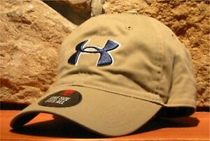 UNDER ARMOUR heatgear Ball Cap Adjustable Slouch Hat Golf Chino Cotton Khaki Tan
