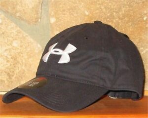 UNDER ARMOUR heatgear Ball Cap Adjustable Slouch Hat Golf Chino Cotton Black