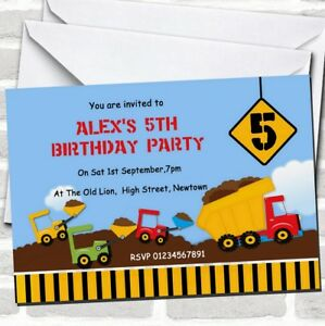 Construction Digger Theme Birthday Party Invitations