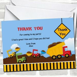 Construction Digger Birthday Party Thank You Cards