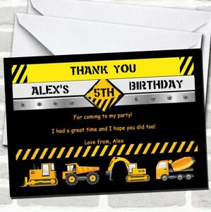 Digger Jcb Construction Builder Birthday Party Thank You Cards