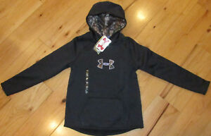Under Armour Storm charcoal gray lavender camo hoodie NWT girls' L YLG $28.99