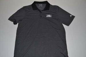 ADIDAS BUD LIGHT BEER BLACK STRIPED DRY FIT POLO SHIRT MENS SIZE MEDIUM M