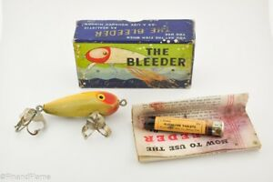 Texas Made Bleeder Bait Lure in Box with Papers and Tube of Pellets