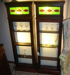 Antique Pair Lighted  Mahogany Cabinets From a Back Bar w Leaded Glass 8118