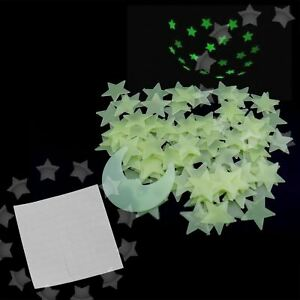 Yellow 100PCS 3D Wall Ceiling Glow In The Dark Moon Stars Decor Bedroom Stickers