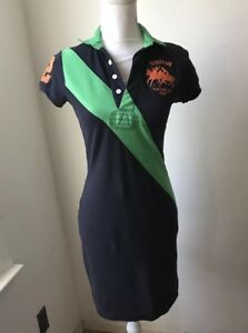 Women's Ralph Lauren Sport Cotton T Shirt Short Sleeve Dress Navy Blue Green XS
