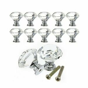 10x Diamond Crystal Door Dresser Knobs Drawer Furniture Pull Handle Cabinet Lots