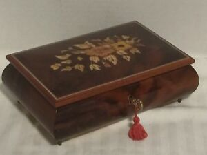 Mapsa Swiss Made Musical Movement Italy Floral Inlay Wood Music Box