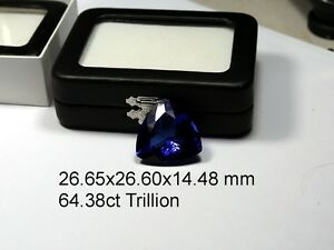 Quality NATURAL 64.38 ct  Loose Trillion  cut TANZANITE    Violet Blue AAA+++