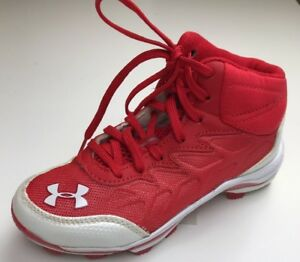 Under Armour Kids Size 1 Yr Baseball Shoes Authentic Collection Cleats Red Wht