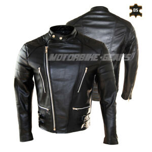 Black motorbike leather jacket bike racing leather gears with internal armors
