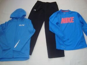 Lot of 3 Boys Youth large shirts Under Armour loose Sweat pants L Nike Dry-Fit