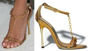 TOM FORD Gold Chain Sandals - SZ 40 = US 9.5 - 10 - Worn Once