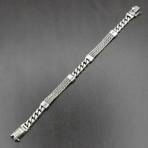 Mens Solid 925 Sterling Silver Bali Curb Chain Heavy Bracelet