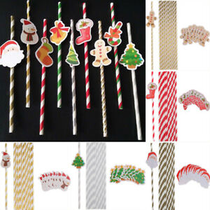 10x Holiday Ginger Man Santa Stocking Drinking Paper Straws Xmas Party Tableware