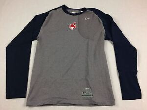 NEW Nike Cleveland Indians - Gray Compression Long Sleeve Shirt Tight fit (2XL)