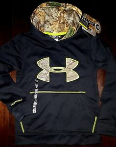 $55new UNDER ARMOUR boys STORM Realtree Black Green Camo Fleece Hooded XS  6-7